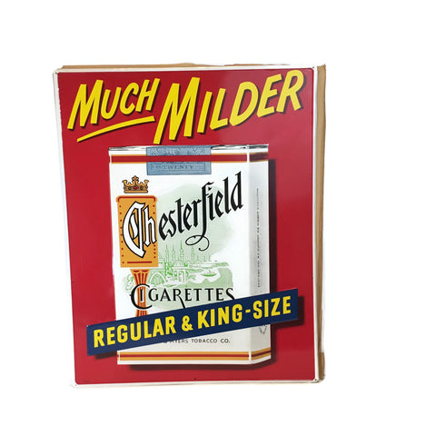 Vintage New Old Stock Chesterfield Tin Litho Sign