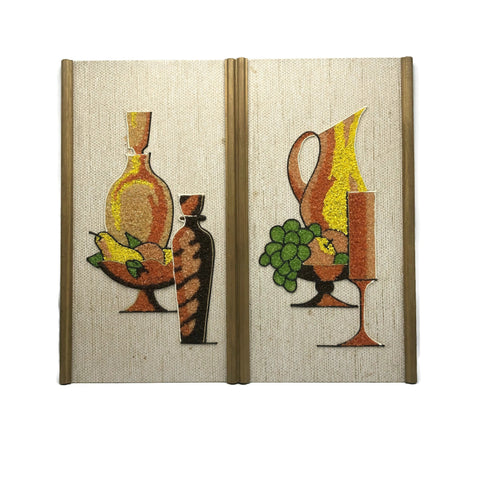 Vintage Mid Century Modern Pair Of Gravel Art Pictures