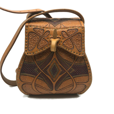 Vintage 1960's-1970's Hand Tooled leather Purse Bucket Bag
