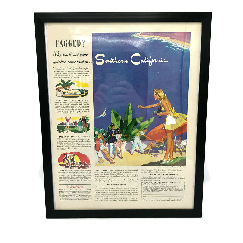 Framed Original Southern California Travel Advertisement