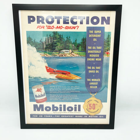 Framed Original Mobile Oil Advertisement
