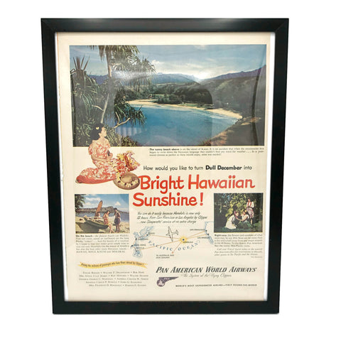 Copy of Framed Original Pan American Hawaii Advertisement
