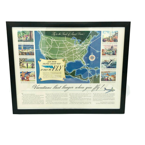 Framed Original Airline Vacation Route Advertisement