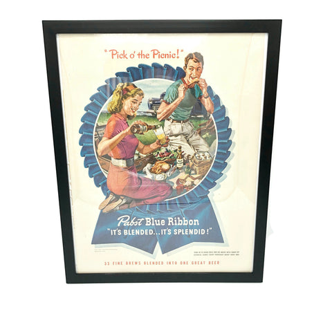 Framed Original Pabst Blue Ribbon Beer Advertisement