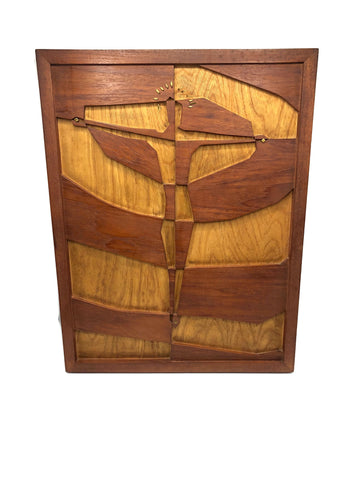 Mid Century Modern Teak & White Ash Robert E. Tobin Wood Art Crucifixion Depiction.