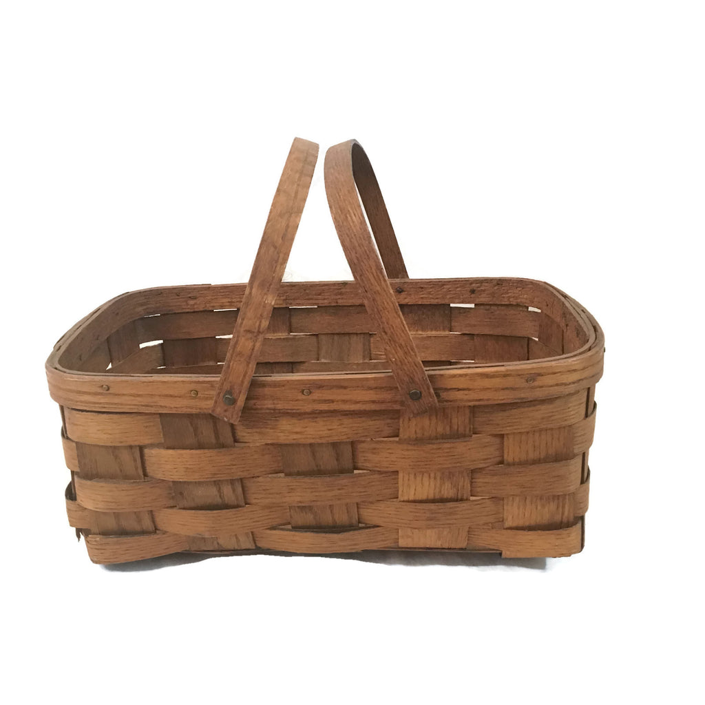 Vintage Oak Market Basket -AS IS-