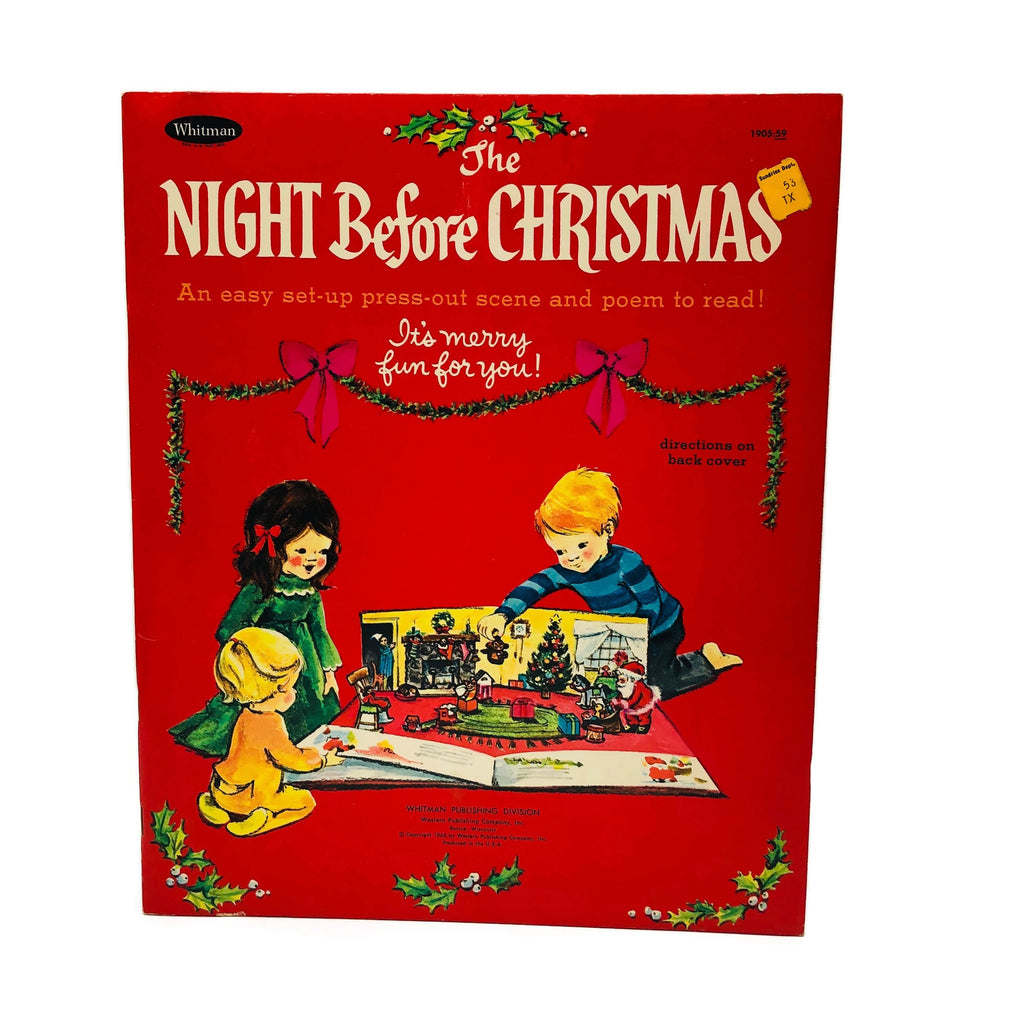 Vintage Whitman The Night Before Christmas Set Up Press-out Scene & Poem