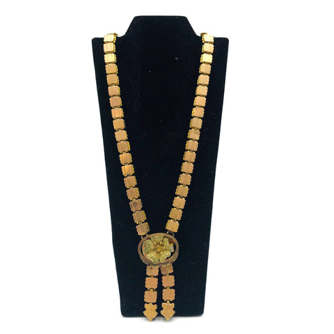 Victorian Book Chain Necklace with Gold Filled Links and a 14K Gold Flower Pendant