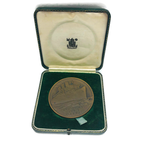 Vintage R.M.S. Queen Mary 1936 Bronze Medallion In Box