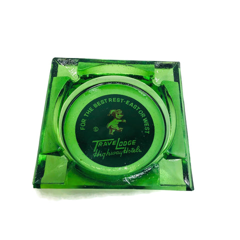 Vintage Travel Lodge 1940's Depression Green Advertising Ashtray