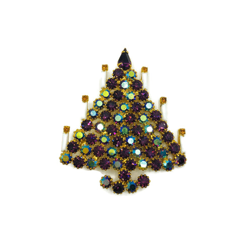 Vintage Dominique De Tora Purple Rhinestone Christmas Tree Brooch
