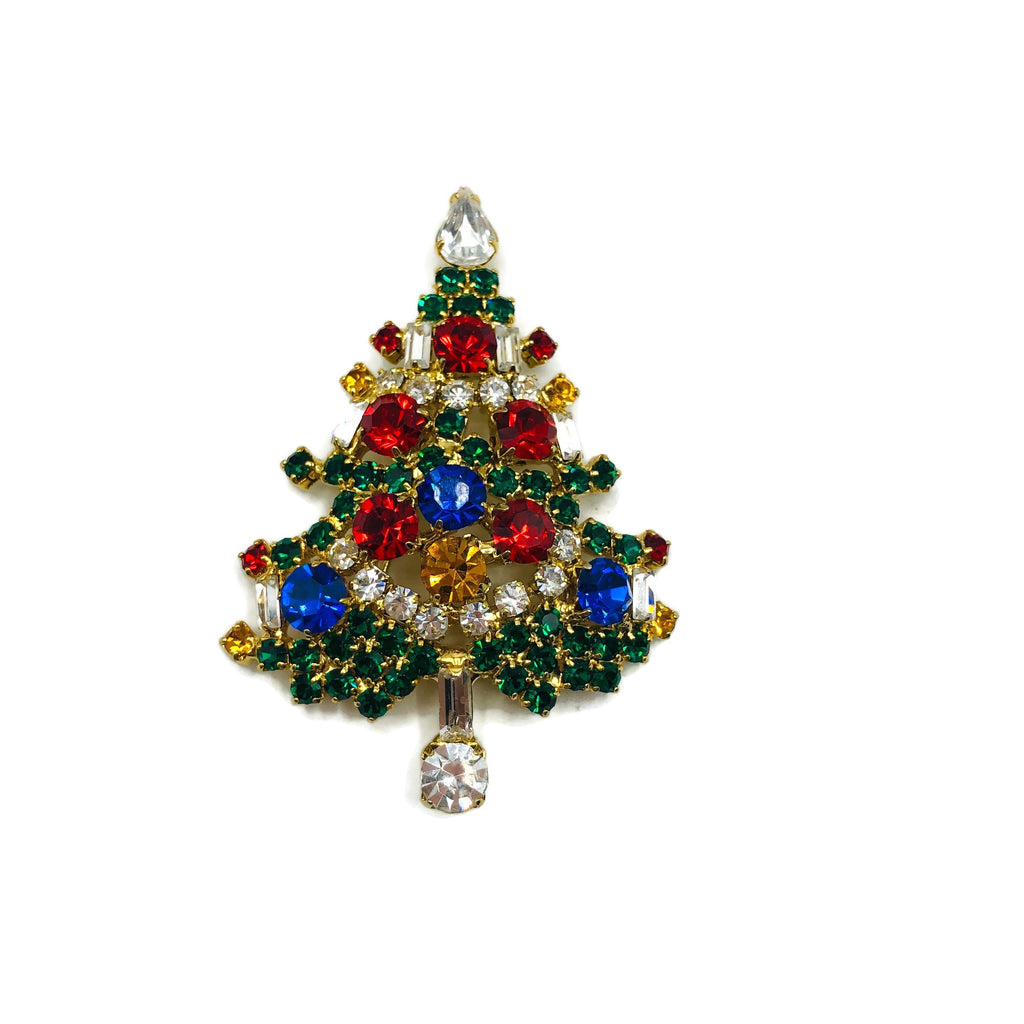 Vintage Rhinestone Christmas Tree Brooch