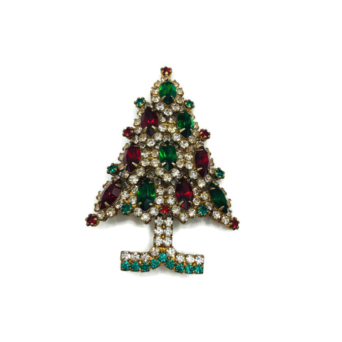 Vintage Red Green & Clear Eisenberg Ice Christmas Tree Rhinestone Brooch