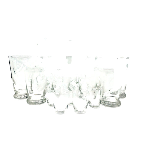 Vintage Frank Oda Etched 17 Piece Drinking Glass Set