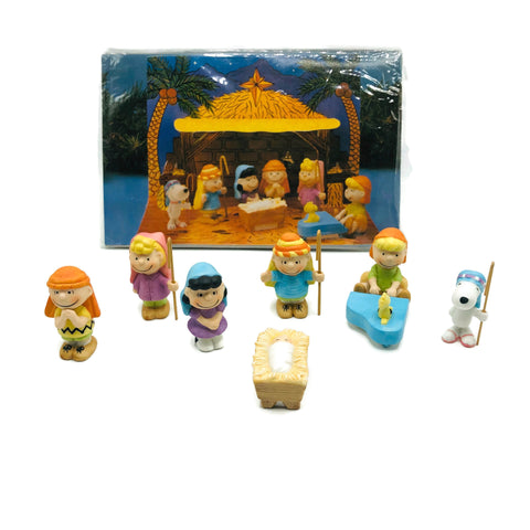 Vintage New Old Stock Snoopy Peanuts Gang Willitts 1989 Porcelain Nativity & Manger