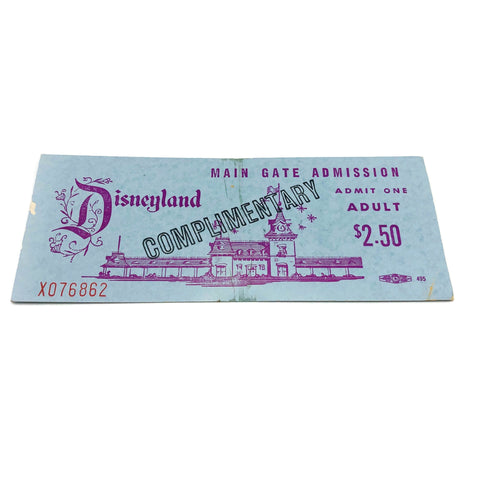 Vintage Disneyland Main Gate Admission Admit One Ticket