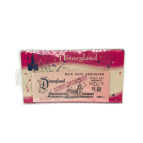 Vintage Disneyland Main Gate Admission Admit One Ticket & Envelope