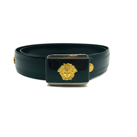 Vintage Small Black Medusa Belt
