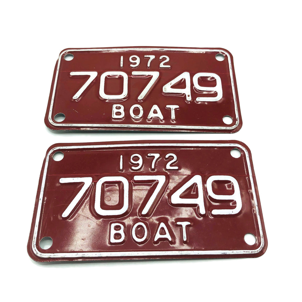 Vintage Pair of Boat License Plates