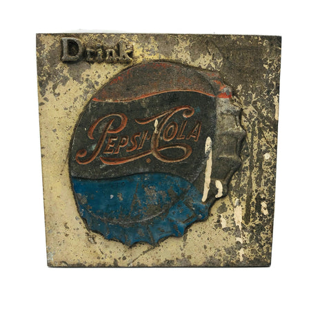 Vintage Drink Pepsi Metal Bottle Cap Plaque