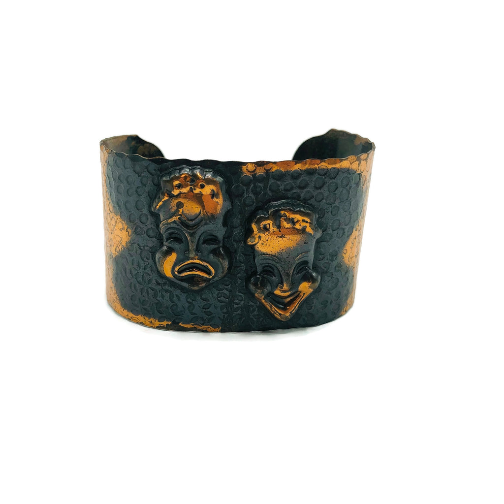 Vintage Copper Comedy & Tragedy Cuff Bracelet