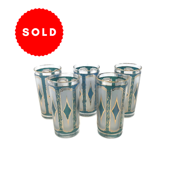 Set of 5 Vintage Mid Century Frosted Turquoise & Gold Glasses