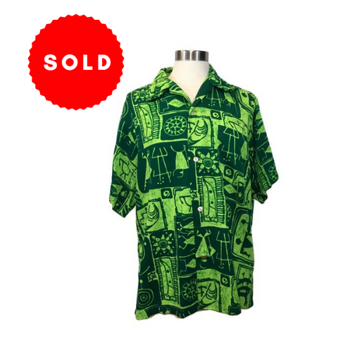 Vintage Men's 1970's Lime Green Hawaiian Shirt