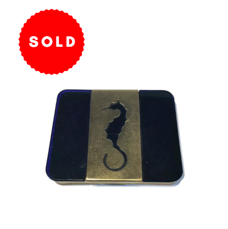 Art Deco Blue Glass & Brass Seahorse Cigarette Case