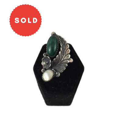 Vintage Native American Old Pawn Style Malachite & Mother Of Pearl Silver Ring