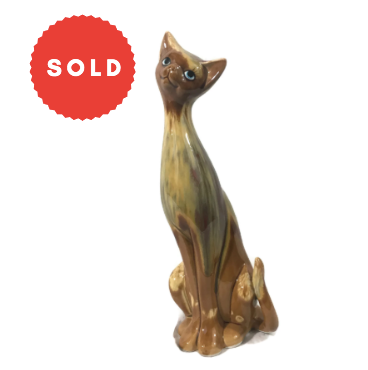 Mid Century Modern Glazed Ceramic Cat Figurine