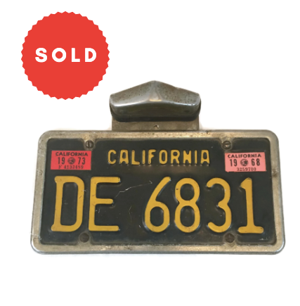 Vintage Black California License Plate With Frame