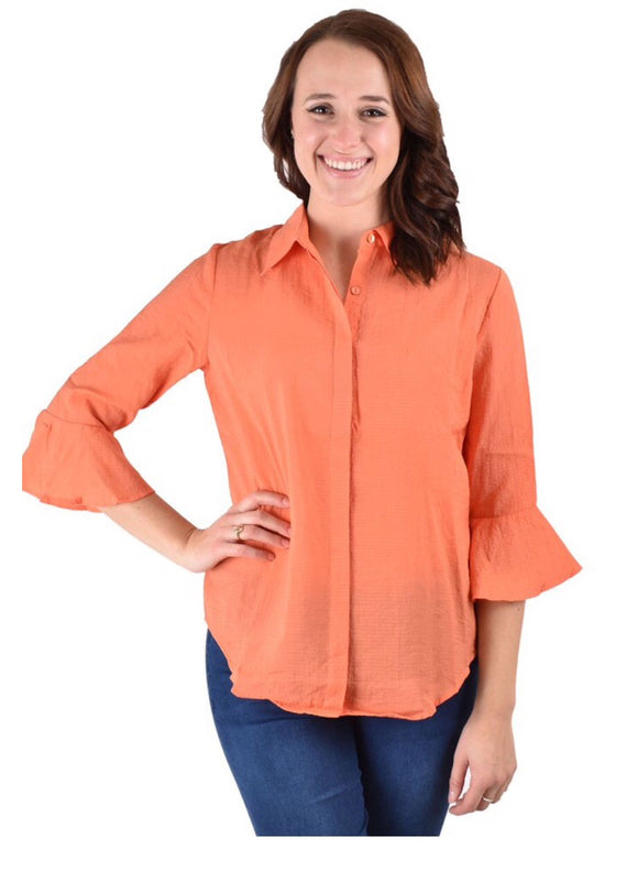 1972ORG Orange Crinkle Fabric Top w/ Cuff Sleeve by Ethyl