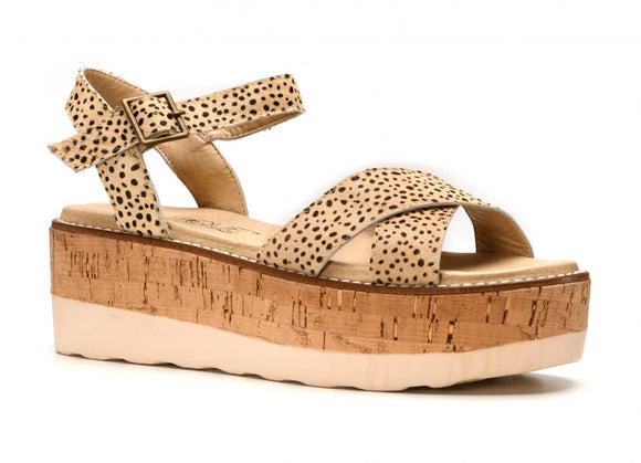 Fluffier Brown Speckled Sandal by Corkys