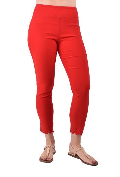 Red pull on scalloped Hem pant