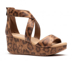 Leopard criss Cross wedge by Corkys