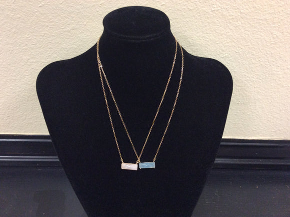 Pink and Blue Stone Necklaces by Ethel&Myrtle