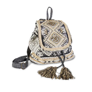 Black Aztec Beaded Back Pack by K&K