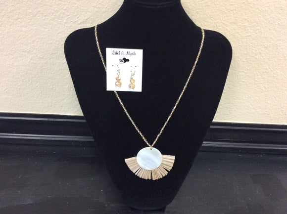 Natural Raffia Disc Necklace by Ethel&Myrtle