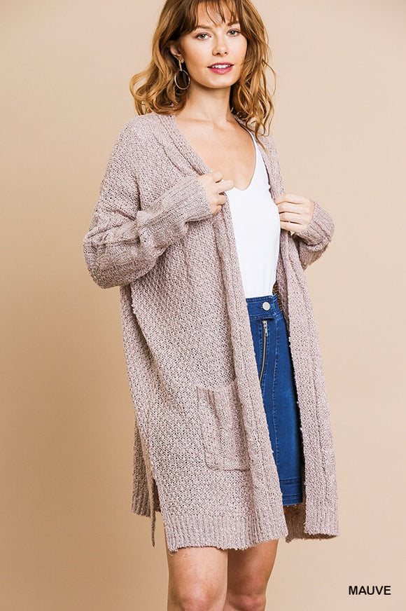 Mauve Cardigan with Front Pockets by Umgee