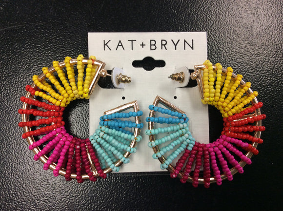Multicolor Beaded Hoop Earrings by Ethel&Myrtle