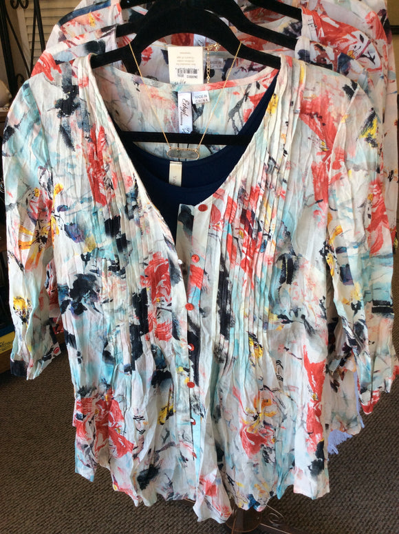 G693397 Muticolor Floral Top by Ethyl