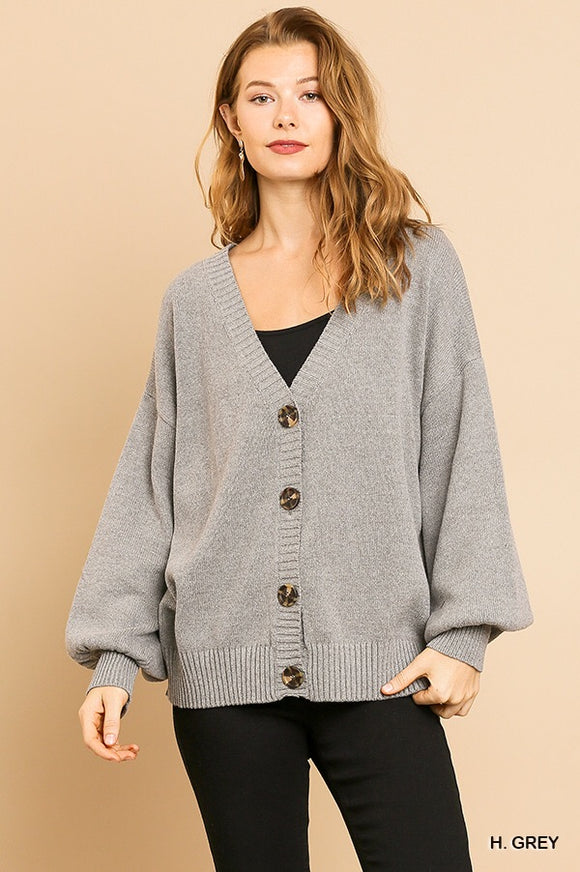 Puff Sleeve Button Front Cardigan by Umgee