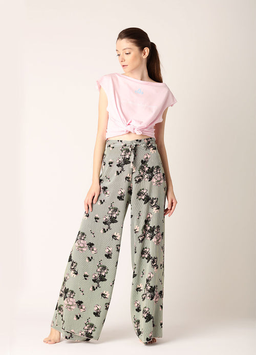 Pantaloni largi Infinity (5in1) - Green Flower Print