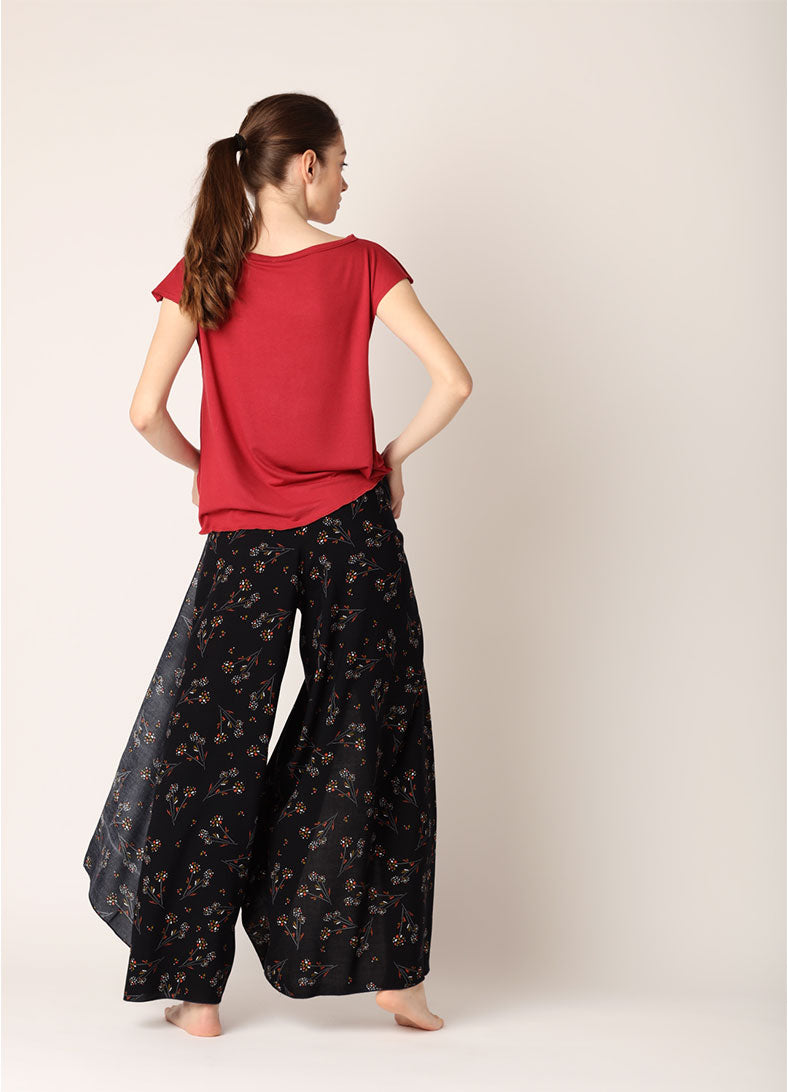 Pantaloni/Salopeta/Rochie Infinity (5in1) - Red Flower Print