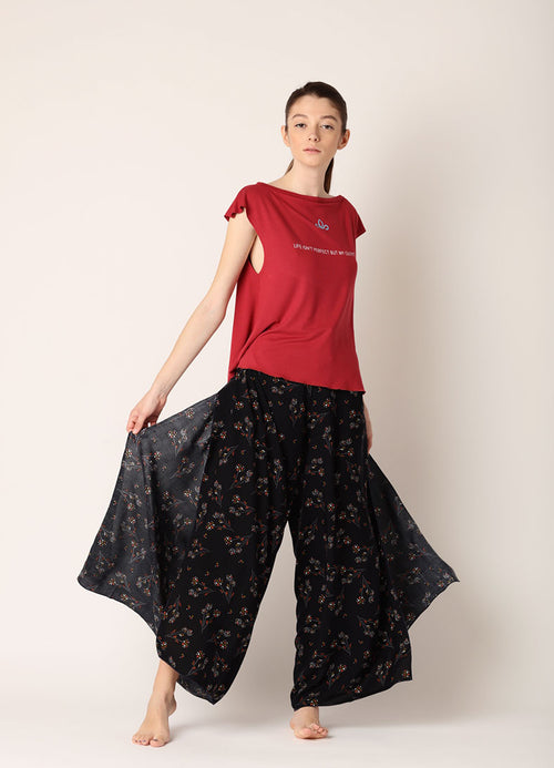 Pantaloni largi Infinity (5in1) - Red Flower Print