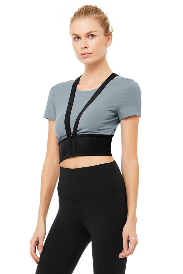 Revolve Crop Tee - Blue Haze/Black - Azuroo Activewear