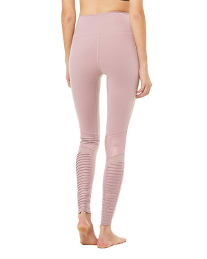 High-Waist Moto Legging - Dusted Plum/Dusted Plum Glossy - Azuroo Activewear