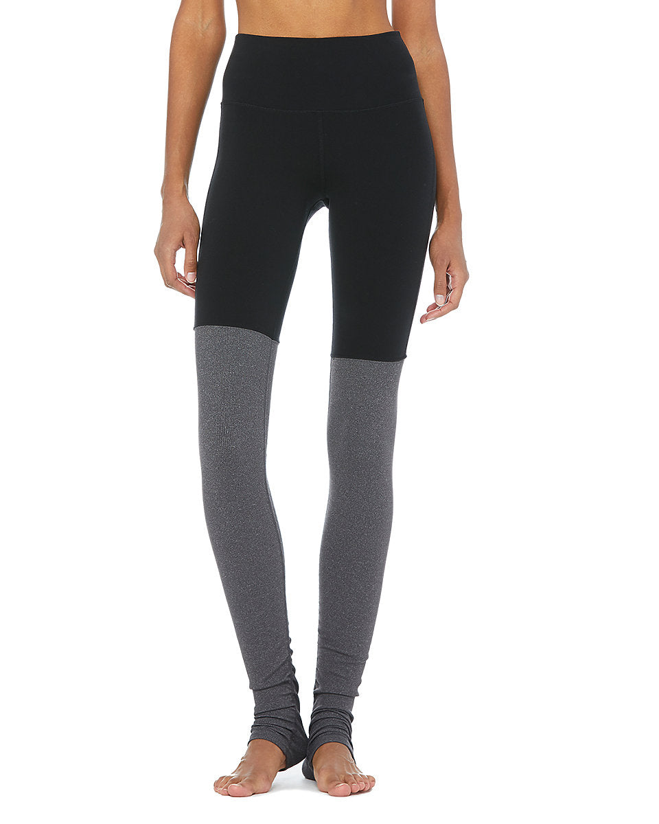 High-Waist Goddess Legging - Black/Stormy Heather - Azuroo Activewear
