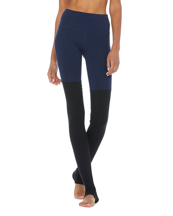 High-Waist Goddess Legging - Rich Navy/Black - Azuroo Activewear