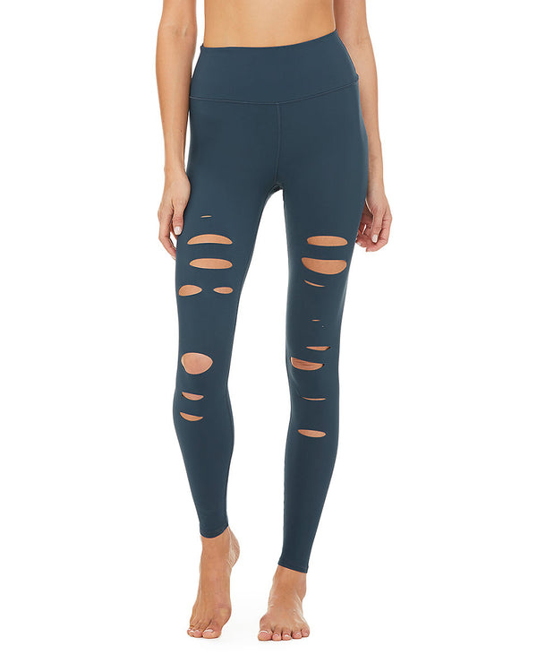High-Waist Ripped Warrior Legging - Eclipse - Azuroo Activewear